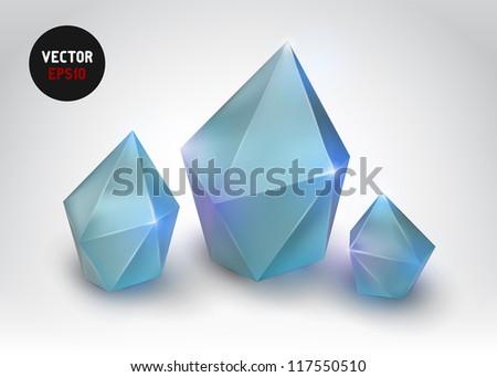 Quartz crystal (Vector illustration of a realistic gemstone) - stock vector