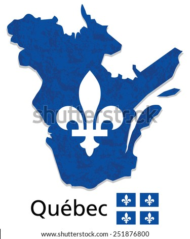 Quebec map with emblem and flag illustration and vector with grunge texture Quebec is a province of Canada - stock vector