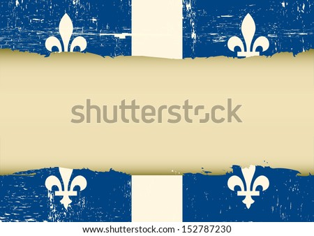 Quebec scratched flag. A used Flag for this poster - stock vector