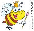 Queen Bee Cartoon Character Waving For Greeting. Vector Illustration.Jpeg version also available - stock photo