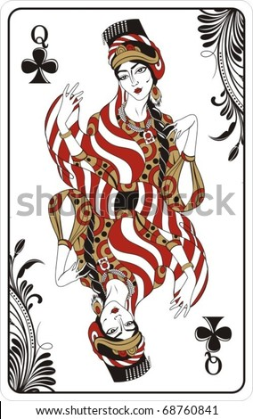 Queen of clubs from deck of playing cards, rest of deck available. - stock vector