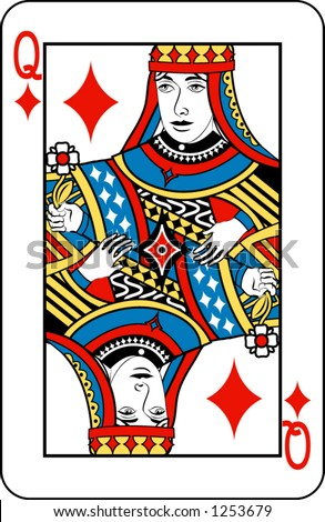 Queen of diamonds from deck of playing cards, rest of deck available.
