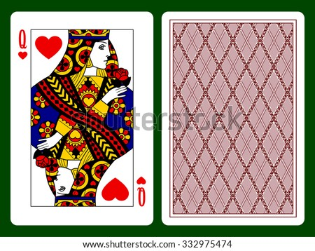 Queen of Hearts playing card and the backside background. Faces double sized. Original design. Vector illustration - stock vector