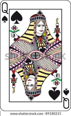 Queen of spades, poker playing card