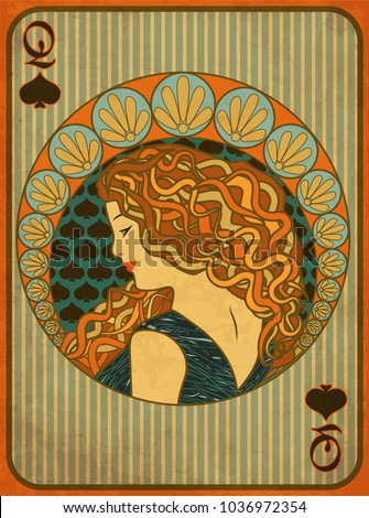 Queen poker spades card in art nouveau style, vector illustration