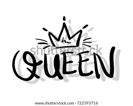 T Shirt Design Line Art : Queen typography crown textile print t stock vector hd royalty free