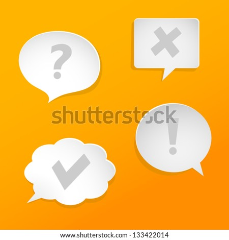 Question and answer marks with paper speech bubbles. - stock vector