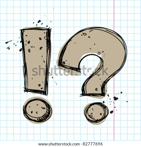Question and exclamation marks in sketch.-style on a writing-book-background. Vector illustration. - stock vector