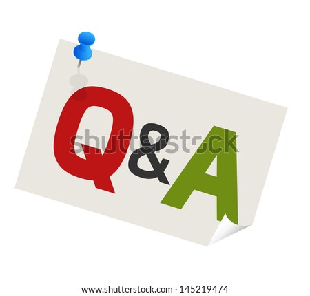 question answer paper with blue pushpin - stock vector