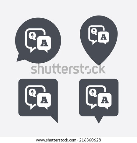 Question answer sign icon. Q&A symbol. Map pointers information buttons. Speech bubbles with icons. Vector - stock vector