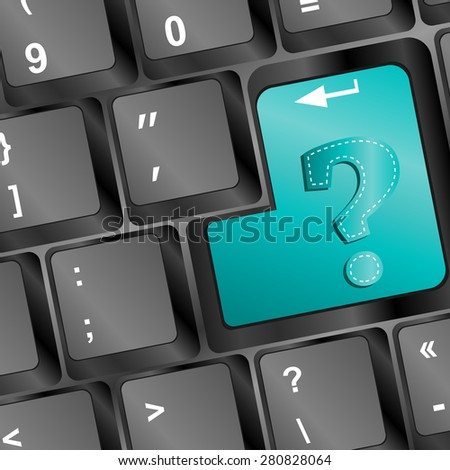 Question button on the keyboard vector - stock vector