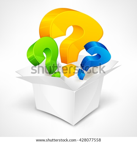 Question color marks in open box vector illustration.  Business icon? - stock vector