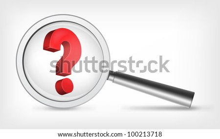 Question Concept. Laptop on Grey Gradient Background. Vector. - stock vector