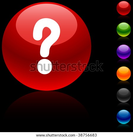 Question  glossy icon. Vector illustration.