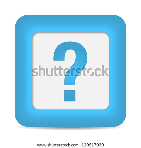 question icon on blue button. vector - stock vector