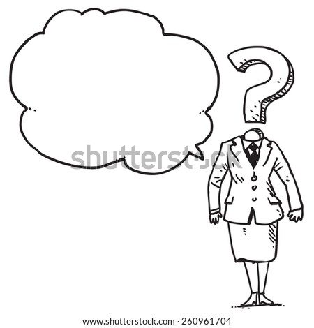 Question mark businesswoman speaking - stock vector
