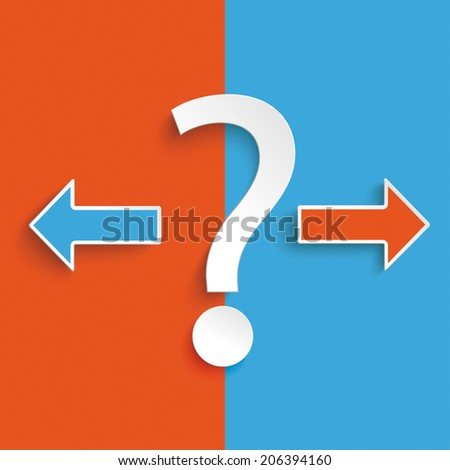 Question mark exclamation mark on the blue and orange background. Eps 10 vector file.