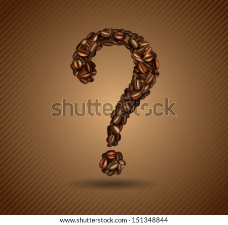 Question mark from coffee beans - stock vector