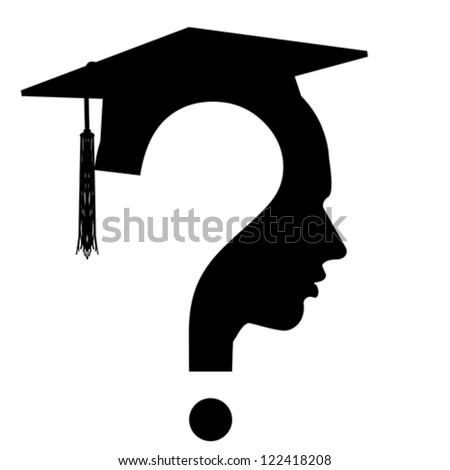 Question mark head with Education Cup symbol isolated on white, vector  - stock vector