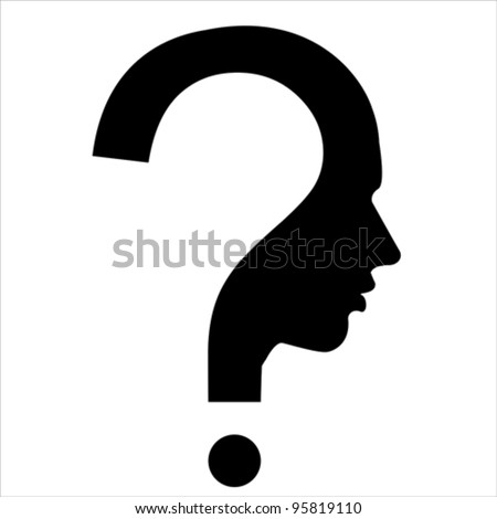 Question mark human head symbol isolated on white, vector  - stock vector