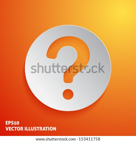 Question mark icon on orange background. Vector illustration - stock vector