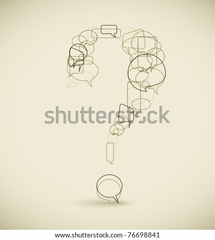 Question mark made from blue speech bubbles - grunge version - stock vector