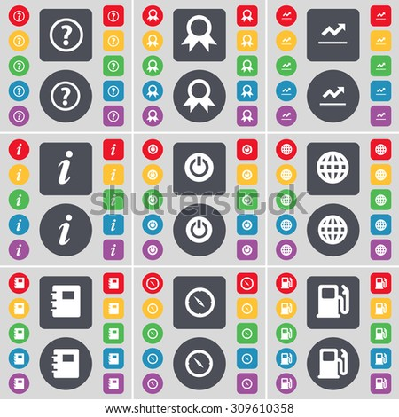 Question mark, Medal, Graph, Information, Power, Golbe, Notebook, Compass, Gas station icon symbol. A large set of flat, colored buttons for your design. Vector illustration - stock vector