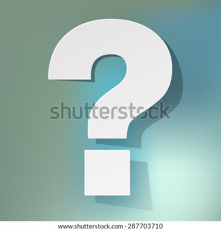 question mark on a blue bokeh background