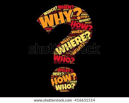 Question mark, Question words cloud business concept - stock vector
