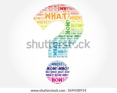 Question mark, Question words cloud concept - stock vector
