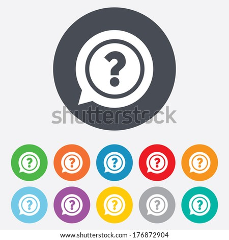 Question mark sign icon. Help speech bubble symbol. FAQ sign. Round colourful 11 buttons. Vector - stock vector