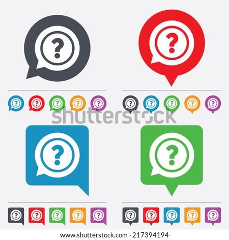 Question mark sign icon. Help speech bubble symbol. FAQ sign. Speech bubbles information icons. 24 colored buttons. Vector - stock vector