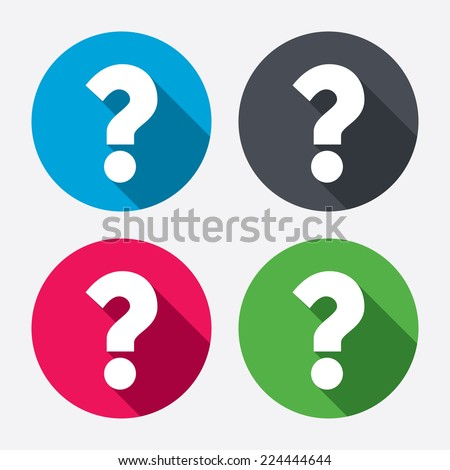 Question mark sign icon. Help symbol. FAQ sign. Circle buttons with long shadow. 4 icons set. Vector - stock vector
