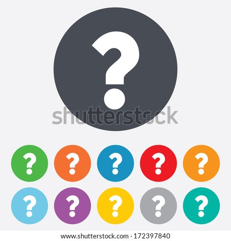 Question mark sign icon. Help symbol. FAQ sign. Round colourful 11 buttons. Vector - stock vector