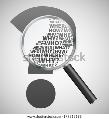 Question mark under review with magnifying glass - stock vector