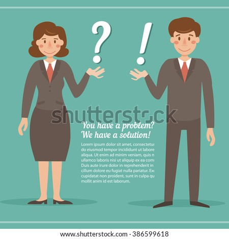 Question marks and exclamation marks. Businessman. Vector isolated illustration. Cartoon character. Place for text. For leaflets and advertising - stock vector