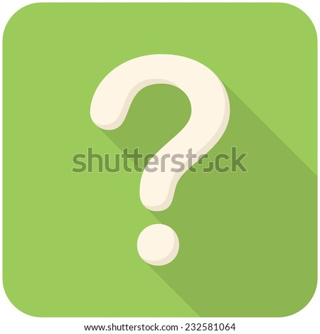 Question, modern flat icon with long shadow - stock vector