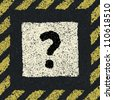 Question sign on asphalt in hazard frame. Vector illustration, EPS8 - stock photo