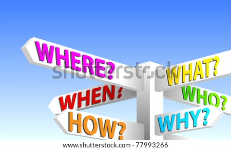 Question Sign Post. Who, What, When, Where, How, Why - stock vector