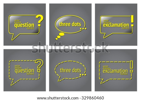 Question three dots exclamation quote blank stock vector 329860460 question three dots exclamation quote blank template template bubble yellow business card reheart Images