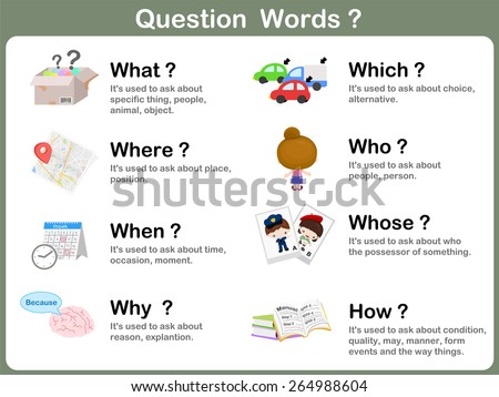 Question Word Flashcards with Picture for kids - stock vector