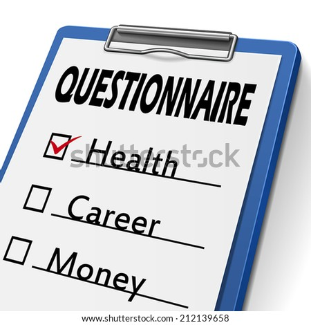 questionnaire clipboard with check boxes marked for health, career and money