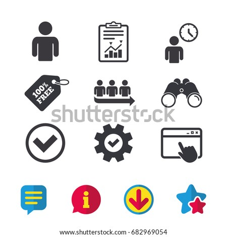 Queue icon. Person waiting sign. Check or Tick and time clock symbols. Browser window, Report and Service signs. Binoculars, Information and Download icons. Stars and Chat. Vector