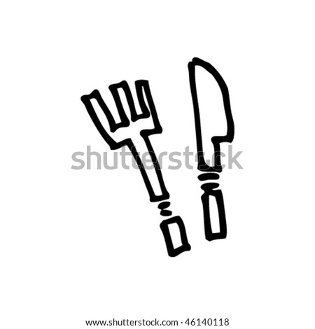 quick drawing of knife and fork - stock vector