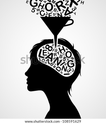 Quick learning woman silhouette isolated on white background