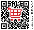 Quick Response Code showing a colored shopping cart symbol for retail purposes. - stock photo