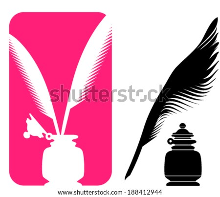 Quill and ink - stock vector