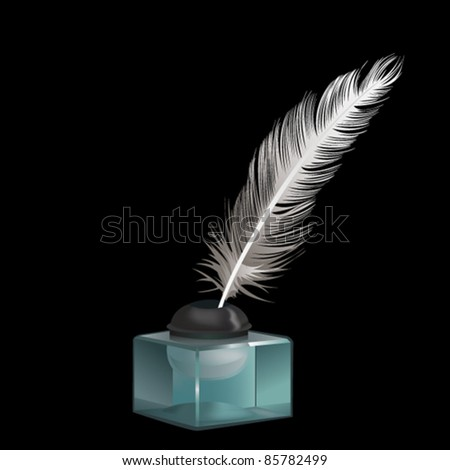 Quill in glass ink pot - stock vector