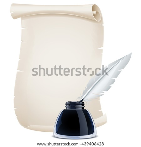 Quill pen, inkwell and scroll - stock vector