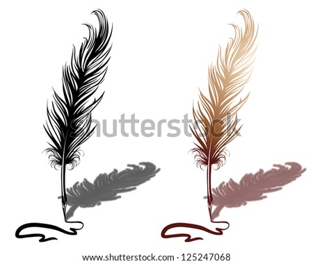 Quill with drawn line - stock vector